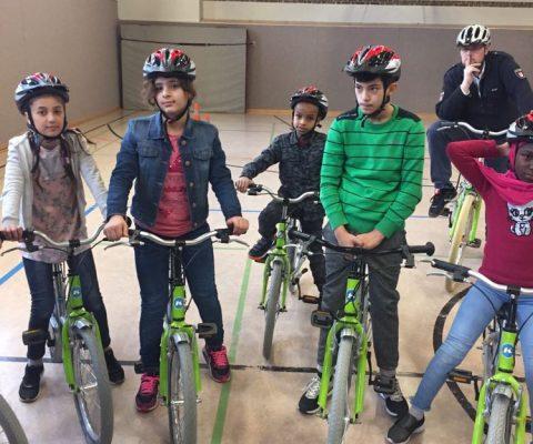 Fahrradtraining mit der Polizei